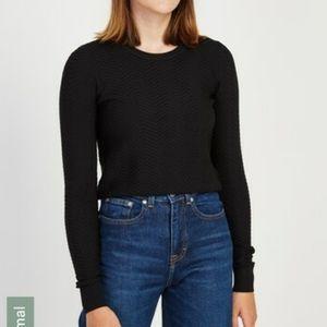 Frank & Oak Black Textured Sweater Crew Minimalist